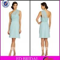 2014 Ice Blue One Shoulder Chiffon A-line Short Western Bridesmaid Dresses