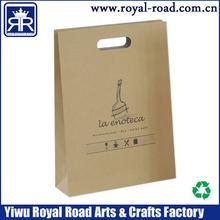 Yiwu Factory Supply Food grade Eco-Friendly Brown Kraft Paper Bag with Die Cut handle #SB034