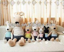 2014 bouquet coral velvet material vested plush animal plush toy plush rabbit