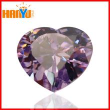 Heart shape cubic zirconia amethyst cz loose gemstone synthetic diamond