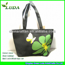 Print Flower Paper Straw Cloth Tote Bags
