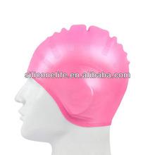 Hot selling silicone ear swim cap / ear protection silicone swim caps