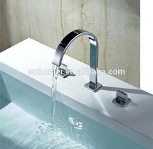 3pcs set all copper waterfall bathroom faucet set