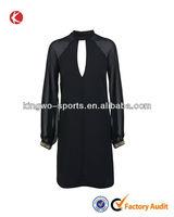 Design hole chiffon beaded long sleeve opening formal dress