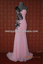 MARRY YOU 2014 High Quality Sexy 100% chiffon+Elastic Imitated Silk+Satin Lining+Boney Lace+Beading Black and Pink Wedding Dress