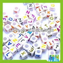 2014 12mm solid white back colored letter cube alphabet beads