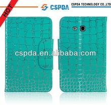 Crocodile PU leather folio stand case for Samsung Galaxy Tab 3 Lite 7.0