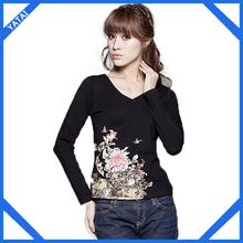 high quality womens printed fashionable v-neck t-shirts