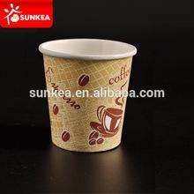 Única parede logotipo impresso copos de papel para cappuccino