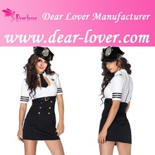 halloween fancy dress Sexy Pilot Captain Costume