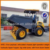 CE certification front dozer blade 6 ton site dumper, hydraulic mini dumper 4x4 for sale