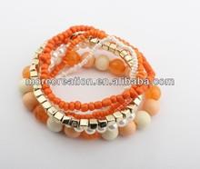 2014 Trend All -match Fashion multi-layer orange beaded elastic bracelet