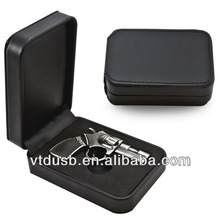 8GB GUN Shaped USB Flash Drive Memory with customized leather box pens OEM gift usb flash drives can brand your own LOGO