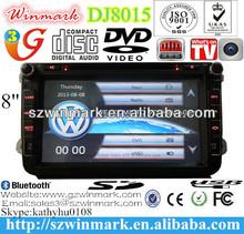"Dj8015 8"" lcd dokunmatik ekran araba dvd oynatıcı vw/skoda/koltuk mtk3360( win ce 6.0) canbus/gps/bt/RDS/radyo/tv/ipod/3g/Swc/pip vb"