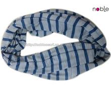 2014 Fashion Seamless Tube Blue Stripe Scarf,Jersey Scarf