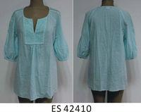 Ladies new design cotton cutwork blouse