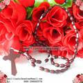 Colore bordeaux 10mm*8mm ovale in legno rosario, rosario fatto a mano
