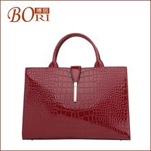 2014 fashion patent leather luxury genuine leather handbag