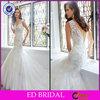 Mermaid Tulle V Neck Cap Sleeve Appliqued Wedding Dress Crystal Stones(ED-W187)
