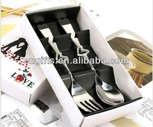 Tableware 2 in1Heart Shaped Love Spoon and Fork Party Return Gifts, Wedding giveaways