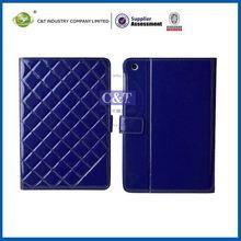C&T Retro blue grid grain portfolio for ipad mini pu leather cover stand folder