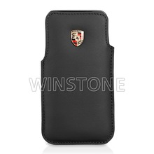 metal car logo cowhide leather cellphone case for Iphone