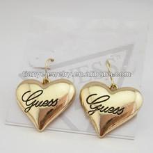 Metal Earrings Heart Designs , Gold Plated Heart Earring , Metal Earrings Gold Plated