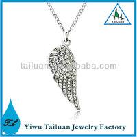 Fashion Silver Rhinestone Paved Angel Wing Pendant Necklace