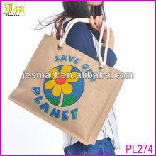 Eco-Friendly Reusable Jute Shopping Bags Printed Ladies Jute Tote Hand Bag