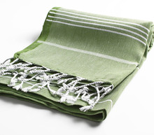 Cacala Pestemal Turkish Traditional Towel 100 Percent Cotton for Bath Sauna 37,70inch Olive Green