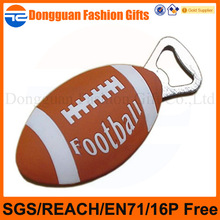 customized football design soft pvc personalized bottle openers for company promotion use
