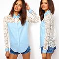 2014 elegante mulher lapel long denim manga splice do laço blusa blusas modelos com cadarço sv002490