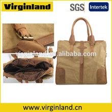 2014 New Design Fashion Unique Canvas Tote Bag with Leather Trim Manufacturer