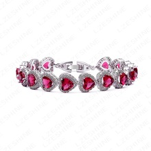 Romantic red heart love Design Women Bracelet AAA+ Cubic Zirconia Wedding Bracelet Bridal Jewelry CBR0034-B