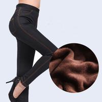 New Winter Super Warm Thick Velvet Fleece Faux Denim Jeans Pants 9043