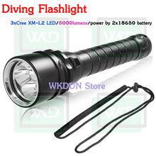 China wholesale High Power 3xCREE XM-L2 LED 5000 lumen Rechargeable Waterproof Flashlight