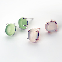 Attractive Rose Gold Plated Opal Stud Earrings/ Crystal Earrings Jewelry Set