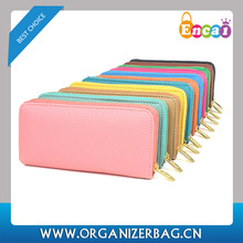 Encai Fashion Lichee Pattern Women's Zipper Wallets Leather Young Lady Purses With Cards Slots Cheap Wholesale