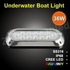 Affordable 12x3W led underwater light,deep sea strobe light,stainless steel light,100%waterproof