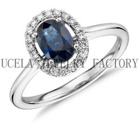 Micro Pave Setting Sterling Silver AAA Blue CZ Summer Fashion couple finger rings