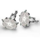 stainless steel flower cufflinks ,simple neck design of suits cufflinks