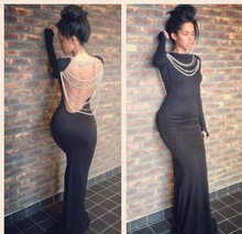 2014 Spring Summer New Hot Selling Black Spandex Backless Long Sleeves Pearls Formal Evening Prom Dresses