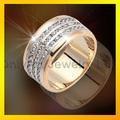 nueva ley 925 de plata 3 joya filas los hombres del anillo de oro anillo de circón anillo de piedra