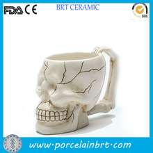 Promotional halloween skull ceramic pencil holder
