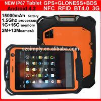 RUGGED unlocked gsm tablets . BT 4.0 . GPS. big battery 15000mah