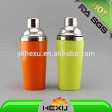plastic outside with steel inner shaker bottle