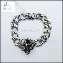 vintage stainless steel casting cuban link locking bracelet men jewelry