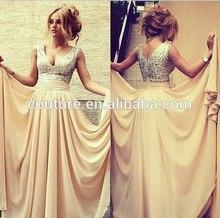2014 spanish style sleeveless gold malaysia chiffon evening gown SS075 evening dress online shopping