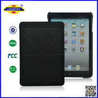 tri-fold pattern stand leather case and hard Hybrid case back for ipad mini Laudtec