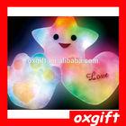 OXGIFT Battery Powered Decorative Flashing LED Light Plush Pink Smiling Star Cushion Pillow